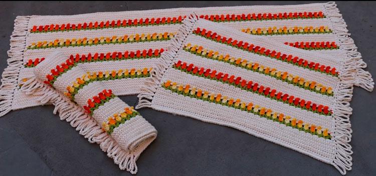 Tapete de crochê com tulipas passo a passo